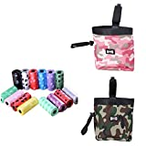 Fully 2x Dog Puppy Cat Food Snack Bag Walk Obedience Training Storage Holder Portable Pouch Camouflage (pink,green) + 10 Rollen Waste Poop Bag
