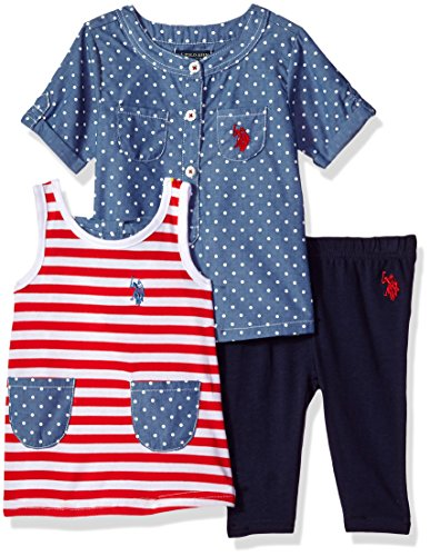 U.S. Polo Assn. Baby Girls Knit, Fashion Top and Pant Set, Printed Woven Striped Bow Back Tank Solid Legging Engine Red, 24M ()