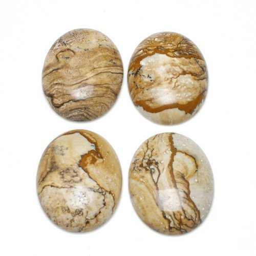 1 x Beige Picture Jasper 30 x 40mm Oval-Shaped Flat-Backed Cabochon - (CA16632-8) - Charming Beads