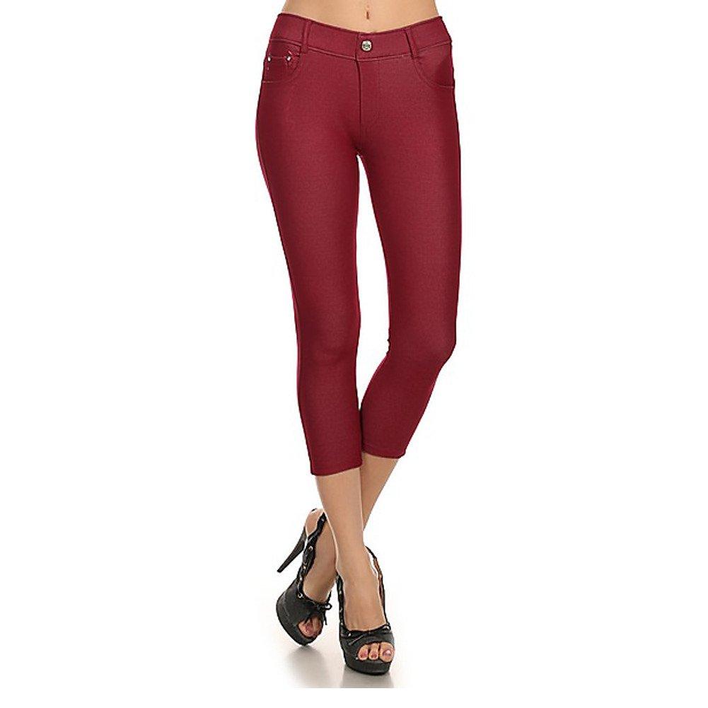 NEW Women's Stretchy Skinny Jeggings Shorts & Capri Pull On Style TRENDS SNJ ALT-817JN201-BUR