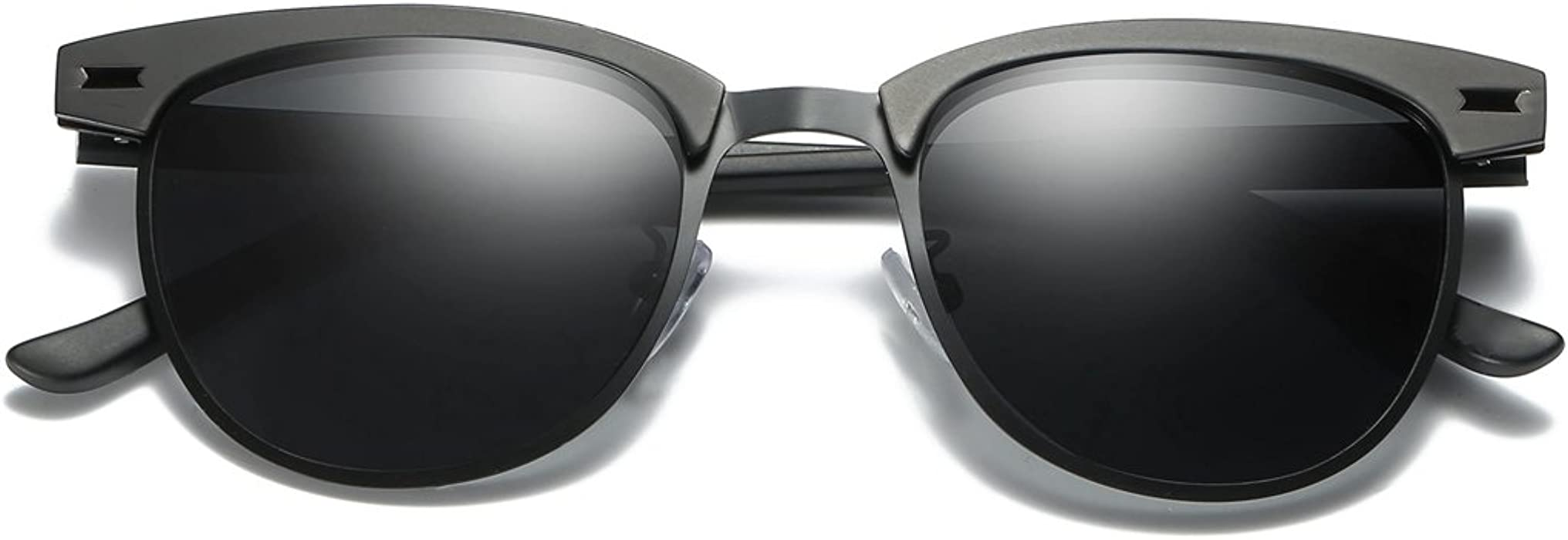 ccd38be3c4aaf LUOMON Polarized Clubmaster Sunglasses with 48mm Semi Rimless Lens LM017