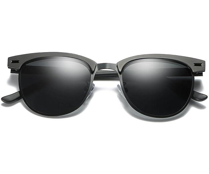 9a0e557b0507f LUOMON Polarized Clubmaster Sunglasses with Black Frame Grey 48mm Semi  Rimless Lens LM017