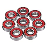 608 bearing sealed - CynKen 10pcs Red Sealed Deep Groove Skateboard Ball Bearing 608 2RS 8x22x7mm