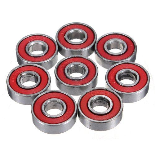 7 Mm Bearing Bushing (CynKen 10pcs Red Sealed Deep Groove Skateboard Ball Bearing 608 2RS 8x22x7mm)