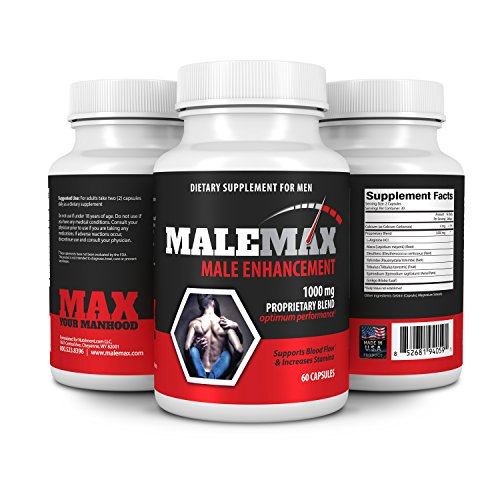 (Male Enhancement Pills by MaleMax- Mens Performance Enhancer Adds Inches Fast- Increase Size Stamina Energy and Libido- Boost Testosterone Levels- See and Feel the Difference- All Natural 60 Capsules)