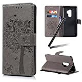 Galaxy S9 Plus Stand Case,Samsung Galaxy S9 Plus Wallet Case,Galaxy S9 Plus 2018 PU Leather Case,SKYMARS Cat Tree Embossed PU Leather Flip Kickstand Cards Slot Cash Pockets Wallet Magnetic Closure Book Style Shockproof Case for Samsung Galaxy S9 Plus 2018 Tree Grey