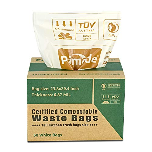 Primode 100% Compostable Bags, 13 Gallon Food Scraps Yard Waste Bags, Extra Thick 0.87 Mil. ASTMD6400 Biodegradable Compost Bags Small Kitchen Trash Bags, Certified by BPI and VINCETTE, ()
