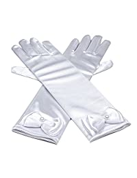 RUNHENG Kids Stretchy Satin Long Finger Dress Gloves (White)