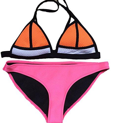 FLORAVOGUE Women Scuba Neoprene Bikini Swimwear Set Orange Mesh Top & Neon Pink Bottom Bottom Small