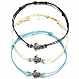 3 PCS Women Vintage Turtle Anklets Barefoot Foot Chain Beach Jewelry Tricolor (White)