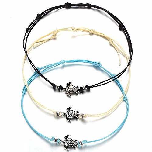 3c2d0a383 3 PCS Women Vintage Turtle Anklets Barefoot Foot Chain Beach Jewelry  Tricolor (White)