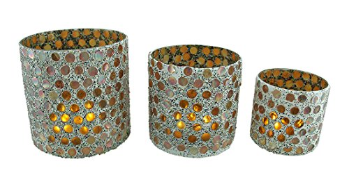 Glass Candle Holder Sets 3 Piece Colorful Round Iridescent Mosaic Glass Votive Candle Holder Set 6.25 X 6 X 6.25 Inches Copper 6 Piece Candle Votive