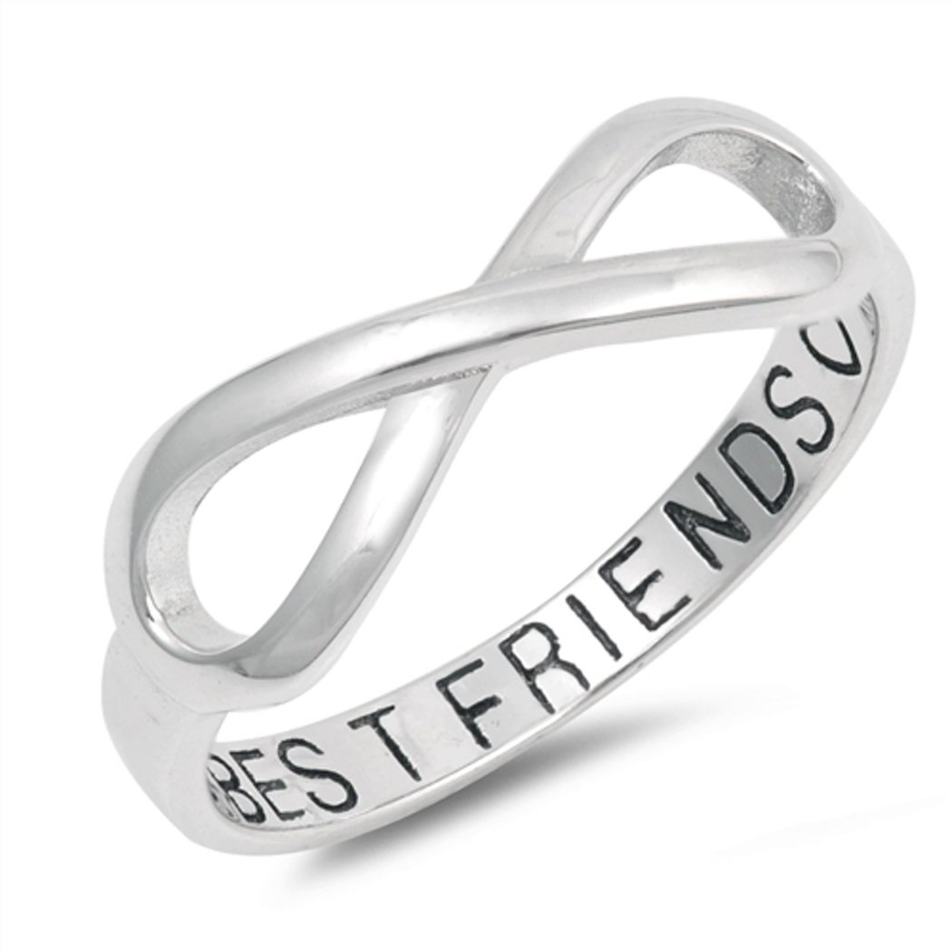 Sterling Silver Best Friends Infinity Ring (Size 5 - 10) - 7