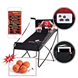 Sportcraft Online App+ Electronic Basketball Double Hoop Shot Arcade, Heavy Duty 1 1/4' Tube ,Built in bluetooth, with free 7' rubber basketballs x 4, pump & needle