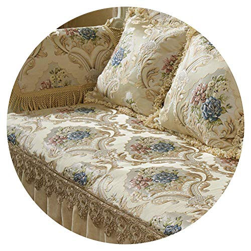 (Europe Style Luxury Floral Jacquard Embroidery sectional Sofa Covers Ruffles lace Spliced slipcovers fundas de Sofa SP5406,Beige per pic,90cm75cm 1piece)