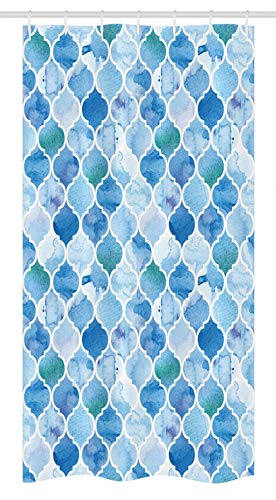 Ambesonne Moroccan Stall Shower Curtain, Oriental Style Mosaic Pattern in Watercolor Paint Retro Style Artwork Print, Fabric Bathroom Decor Set with Hooks, 36