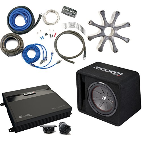 Kicker 43VCWR122 Comp R ported enclosure w/ MB Quart ZA2-1000.1D 1000 Watt Mono Amp, Wiring Kit, grille, and Bass Knob.