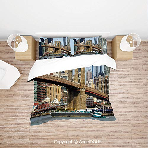 PUTIEN 4 Pieces (1 Duvet Cover +1 Sheet+ 2 Pillow Shams) Home Bedding Sets Duvet Cover Sets,Skyline of Brooklyn New York USA Cityscape Bridge Buildings and River Coastal Scenery,Quilt Cover for Women ()