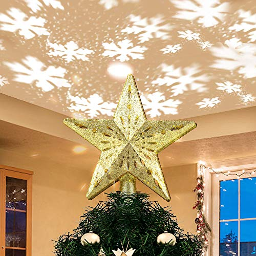 Lighted Christmas Tree Toppers with Rotating Star Projector, Gold Glittered 5 Point Star Tree Topper Starry Night Light for Christmas Nursery Bedroom Decoration, Warm White UK Plug