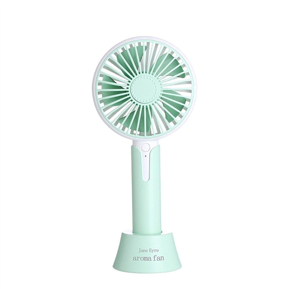 Mini Handheld Fan, YKDY Mall Portable Foldable Desk Aromatherapy Cooling Handheld Fan with USB Rechargeable Battery Operated Electric Fan for Office Room Outdoor Household Traveling (Green)