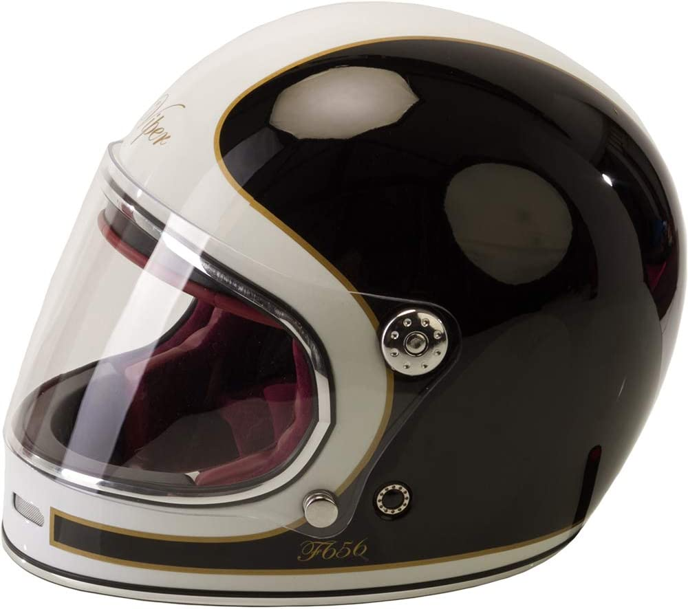Viper F656 Vintage Full Face Fibreglass Classic Motorcycle Helmet Black//White