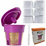 24K Gold Reusable Filter for Keurig 2.0 / 1.0 My K Cup Single Serve Coffee Filters Kcup Refillable Permanent Replacement Cup by BCLA, Bonus 6 pack Charcoal Water Filters and 1pc Brush