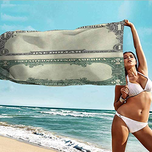 (Personalized Microfiber Beach Towel for Kids Money,One Dollar Bill Buck Design American Federal Reserve Note Pattern Wealth Symbol,Pale Green Grey,suitable For Home,Travel,Swimming Use 20