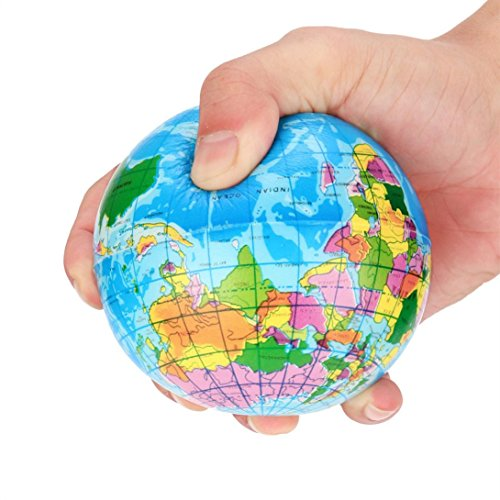 Price comparison product image Auwer 8cm Stress Relief World Map Foam Ball Atlas Globe Palm Ball Planet Earth Ball Kid Toys (Blue 1)