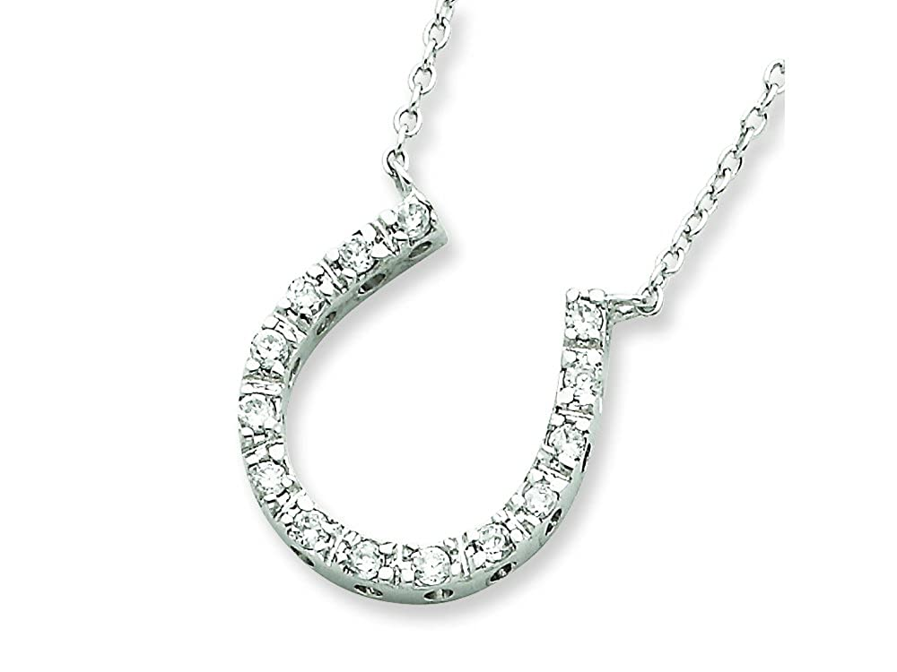 Finejewelers Sterling Silver Cubic Zirconia Horse Shoe Necklace