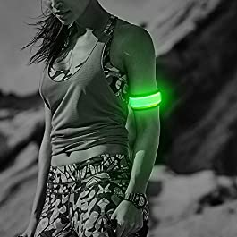 Ezer LED Armbands, Pack of 2 PCS Glowing Event Wristbands with Elastic Band, Light Up Reflective Running Gear Flashing Arm Bands, for Runners, Joggers, Cyclists