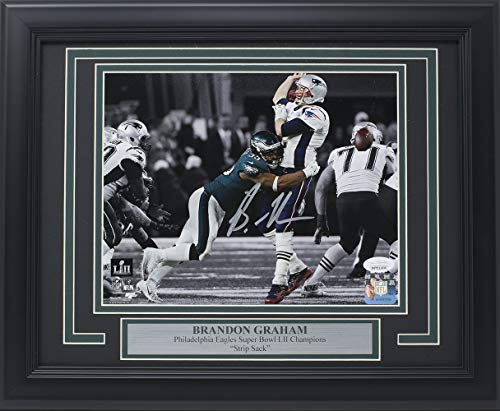 (Brandon Graham Signed Framed 8x10 Eagles Super Bowl 52 Tom Brady Strip Sack Spotlight Photo JSA)