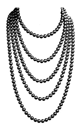 Big Faux Pearl - 1920s Pearls Necklace Gatsby Accessories Vintage Costume Jewelry Faux Ivory Pearl Cream Long Necklace for Women (Black-1)