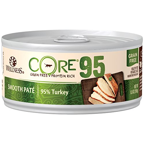 - Wellness Core 95% Natural Grain Free Wet Canned Cat Food, Turkey, 5.5-Ounce Can (Pack Of 12)