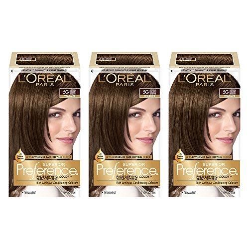 L'Oréal Paris Superior Preference Fade-Defying + Shine Permanent Hair Color, 5G Medium Golden Brown (3 Count) Hair ()