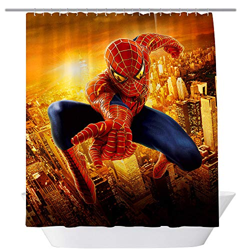 (BT World Spiderman Shower Curtains, Cool Super Hero for Bathroom,Polyester Fabric Shower Curtain Sets with Hooks, 71X 71 in (Spiderman))