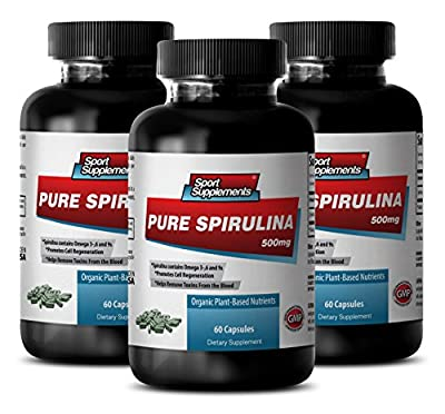 Cholesterol relief - PURE SPIRULINA 500mg - Supplement for anxiety - 3 Bottles 180 Tablets