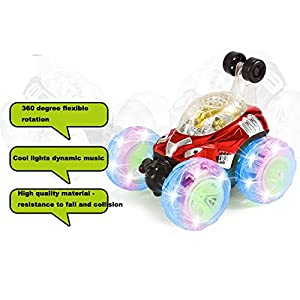 RC Car, 360° Spinning And Flips With Color Flash & Music For Kids Remote Control Truck (Red)
