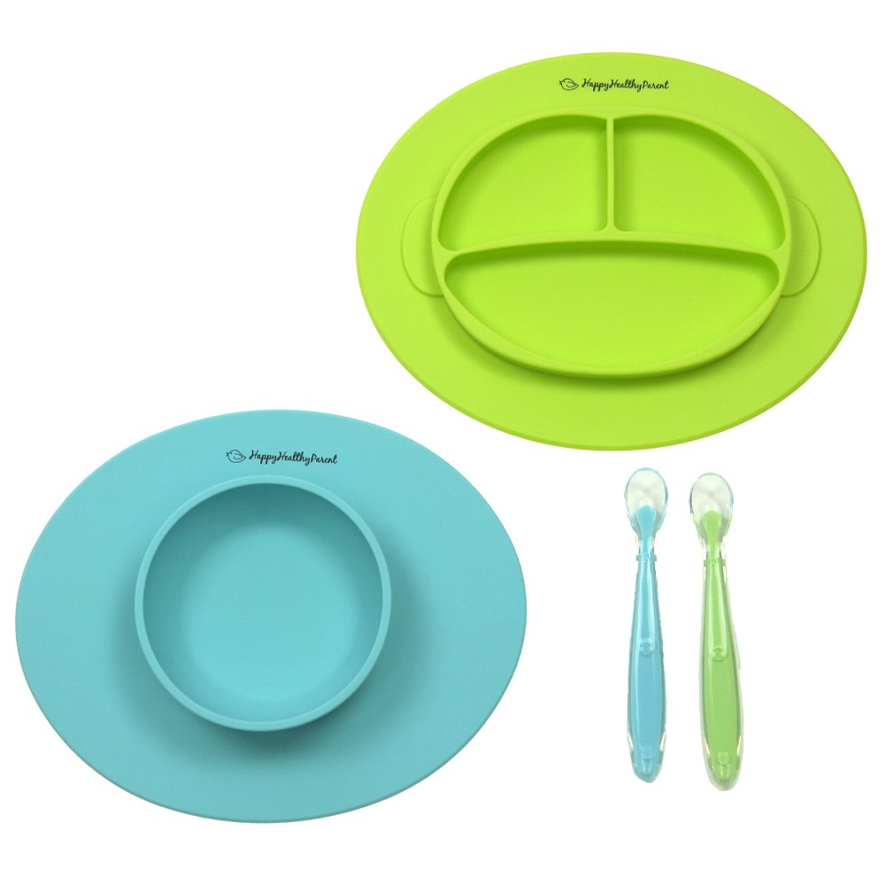 Silicone Bowl and Silicone Plate Easily Wipe Clean - Self Feeding Set Reduces Spills - Spend Less Time Cleaning After Meals with a Baby or Toddler - Set Includes 2 Colors (Turquoise/Lime Green) by Happy Healthy Parent