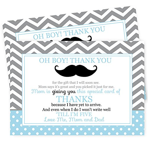 Mustache Baby Shower Thank You Postcard Set of 15
