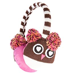 Cute Brown Owl Style Winter Thermal Fashion Earmuffs with Pompom Ears – Onesize fits most