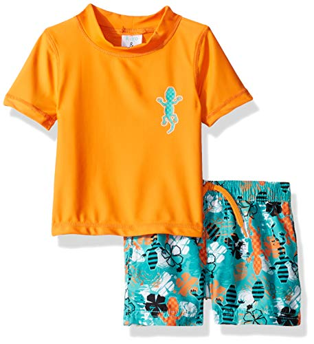 KIKO & MAX Baby Boys Swimsuit Set with Short Sleeve Rashguard Swim Shirt, Orange Gecko, 18 Months