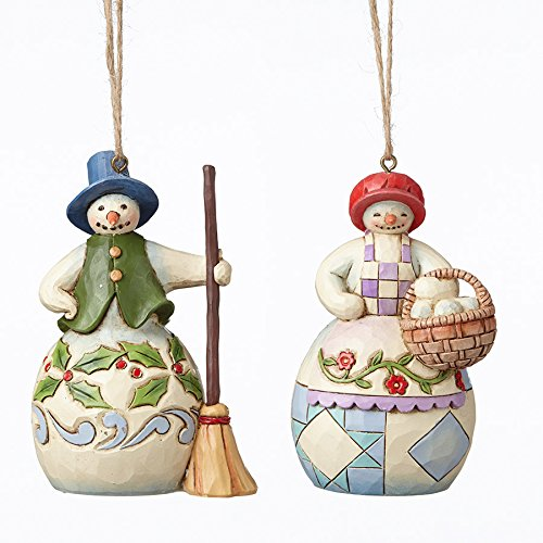 Jim Shore Heartwood Creek Mr and Mrs Snowman Christmas Ornament Set of 2 4051333