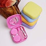 Leisial™ Custodia in Plastica con Specchio mini Miniatura in Lenti a Contatto Colore Casuale