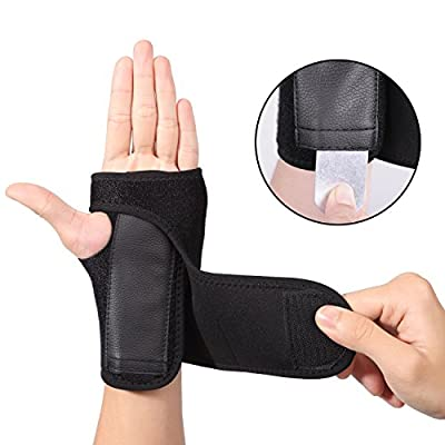 EXski Carpal Tunnel Wrist Splint Removable Hand Support Brace Adjustable Strap for Arthritis Sprains Strains Right and Left Hand 1 Piece