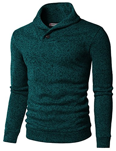 Neck Shawl (H2H Mens Knited Slim Fit Pullover Sweater Shawl Collar With One Button Point TURQUOISE US M/Asia L (KMOSWL036))