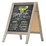 Rustic Stained Vintaged Wooden Freestanding A-Frame Double-Sided Chalkboard Sidewalk Sign