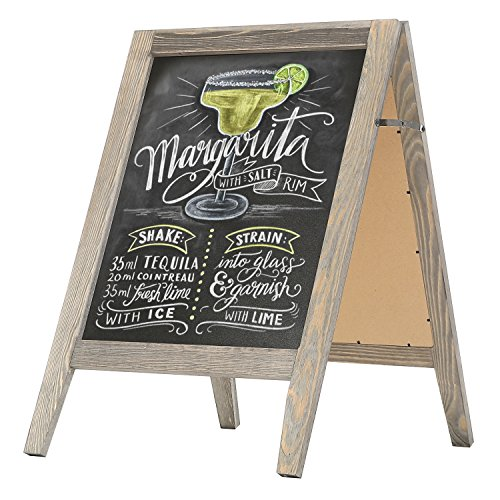 MyGift Rustic Stained Vintaged Wooden Freestanding A-Frame Double-Sided Chalkboard Sidewalk Sign -