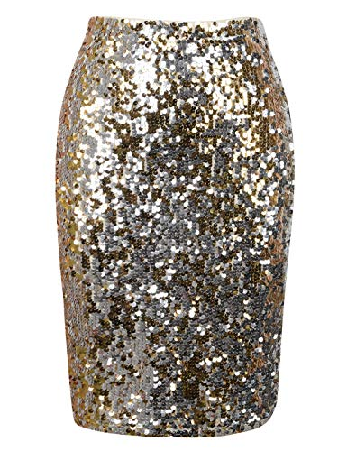 PrettyGuide Women's Sequin Skirt Glitter Pencil Skirt Party Nightout M - High Sequin Waisted