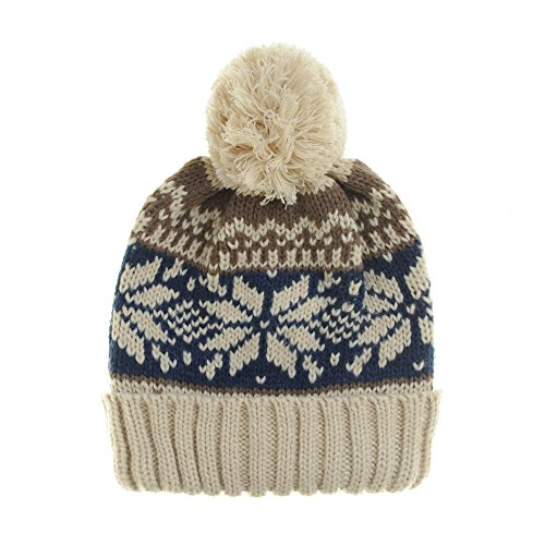 - WITHMOONS Knitted Fairs Isle Nordic Bobble Pom Beanie Hat CR5169 (Ivory)