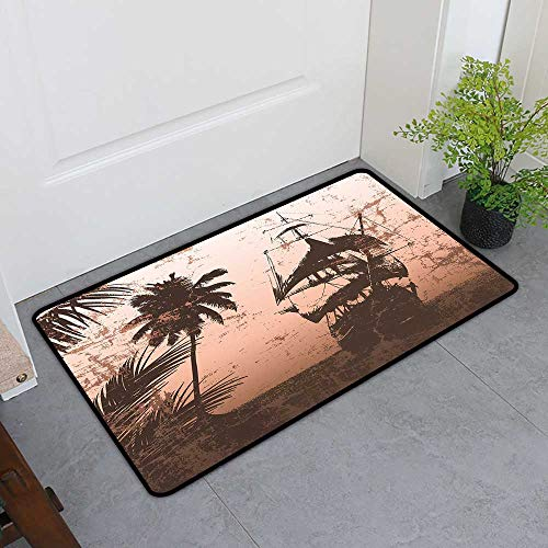 TableCovers&Home Front Door Mat Carpet, Ocean Doormats for High Traffic Areas, Pirate Ship on Misty High Seas Palm Trees Sailboat Vessel Grunge Background (Salmon Army Green, H16 x W24)
